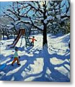 The Slide In Winter Metal Print by Andrew Macara
