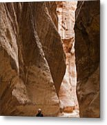 The Slot Canyons Leading Into Petra Metal Print by Taylor S. Kennedy
