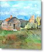 The Vacant Schoolhouse Metal Print by Arline Wagner