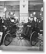 Thomas Edison In Quadricycle Metal Print by Photo Researchers