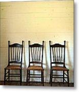 Three Antique Chairs Metal Print by Jill Battaglia