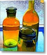 Three Bottles In Window Metal Print by Dale   Ford