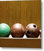 Three Bowling Balls Metal Print by Benne Ochs