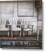 Three Chairs Beyond Front Street Metal Print by Brenda Bryant