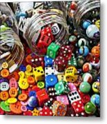 Three Jars Of Buttons Dice And Marbles Metal Print by Garry Gay