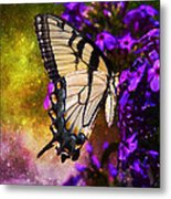 Tiger Swallowtail Feeding In Outer Space Metal Print by J Larry Walker
