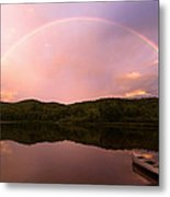 Timing Is Divine Rainbow Over Vermont Mountains Metal Print by Stephanie McDowell