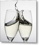 Toasting With Two Glasses Of Champagne Metal Print by Dual Dual