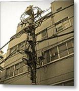 Tokyo Electric Pole Metal Print by Naxart Studio