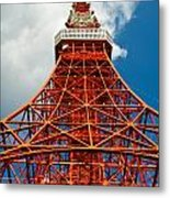 Tokyo Tower Face Cloudy Sky Metal Print by Ulrich Schade
