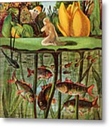 Tommelise Very Desolate On The Water Lily Leaf In 'thumbkinetta'  Metal Print by Hans Christian Andersen and Eleanor Vere Boyle