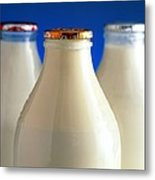 Tops Of Three Types Of Bottled Milk Metal Print by Steve Horrell