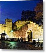 Tower Of London Walls At Night Metal Print by Elena Elisseeva