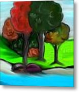 Trees On River Metal Print by Paula Brown
