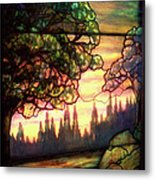 Trees Stained Glass Window Metal Print by Thomas Woolworth