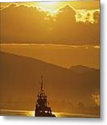 Tugboat At Sunrise, Burrard Inlet Metal Print by Ron Watts