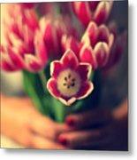 Tulips In Woman Hands Metal Print by Photo by Ira Heuvelman-Dobrolyubova