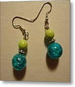 Turquoise And Apple Drop Earrings Metal Print by Jenna Green