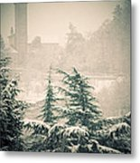 Turret In Snow Metal Print by Silvia Ganora