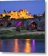 Twilight Over Carcassonne Metal Print by Brian Jannsen