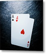 Two Aces Playing Cards On Stainless Steel. Metal Print by Ballyscanlon