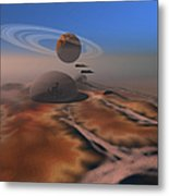Two Aircraft Fly Over Domes Metal Print by Corey Ford