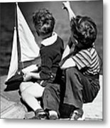 Two Boys Playing W/sailboats Metal Print by George Marks