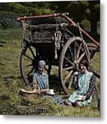 Two Girls Eat Lunch In A Hayfield Metal Print by Clifton R. Adams