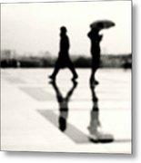 Two Men In Rain With Their Reflections Metal Print by Nadia Draoui
