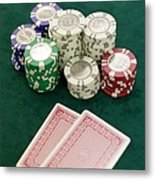 Two Playing Cards And Piles Of Gambling Chips On A Table, Las Vegas, Nevada Metal Print by Christian Thomas