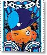 Umgx Vintage Studios Blues Orange Punk Illustrated Stamp Art Metal Print by David Cook  Los Angeles Prints