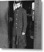 Uniformed Woman Brooklyn Subway Guard Metal Print by Everett