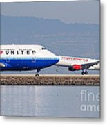 United Airlines And Virgin America Airlines Jet Airplanes At San Francisco International Airport Sfo Metal Print by Wingsdomain Art and Photography