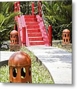 Up Garden Path Over Red Bridge Metal Print by Kantilal Patel