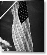 Us American Flag On Flagpole Against Blue Cloudy Sky Usa Metal Print by Joe Fox