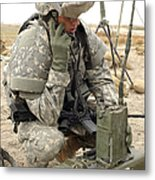 U.s. Army Soldier Performs A Radio Metal Print by Stocktrek Images