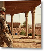U.s. Army Soldier Pulls Security Metal Print by Stocktrek Images
