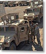U.s. Army Soldier Speaks With Iraqi Metal Print by Stocktrek Images