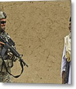 U.s. Army Specialist Talks To An Afghan Metal Print by Stocktrek Images