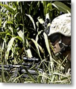 U.s. Marine Maintains Security Metal Print by Stocktrek Images