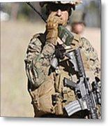 U.s. Marine Radios His Units Movements Metal Print by Stocktrek Images