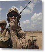 U.s. Marine Uses A Radio In Djibouti Metal Print by Stocktrek Images