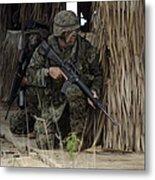 U.s. Marines Prepare To Enter A House Metal Print by Stocktrek Images