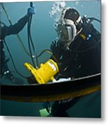 U.s. Navy Diver Instructs A Barbados Metal Print by Stocktrek Images