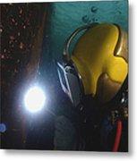 U.s. Navy Diver Welds A Repair Patch Metal Print by Stocktrek Images