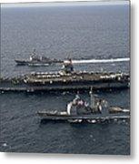 U.s. Navy Ships Transit The Atlantic Metal Print by Stocktrek Images