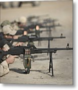 U.s. Soldiers Firing Pk 7.62 Mm Metal Print by Terry Moore