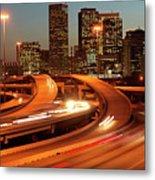 Usa, Texas, Houston City Skyline And Motorway, Dusk (long Exposure) Metal Print by George Doyle
