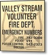 Vallet Stream Fire Department In Sepia Metal Print by Rob Hans
