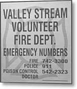 Valley Stream Fire Department In Black And White Metal Print by Rob Hans